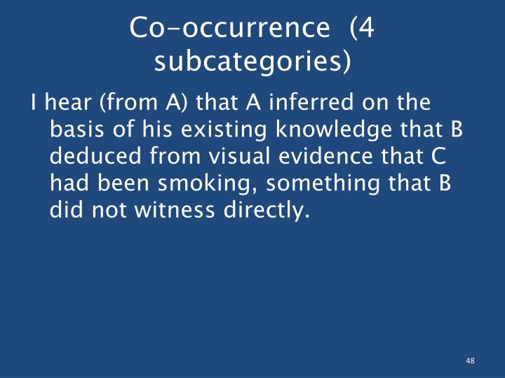 Co-occurrence  (4 subcategories)