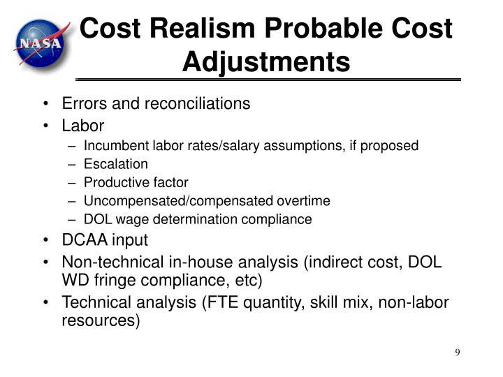 Cost Realism Probable Cost Adjustments
