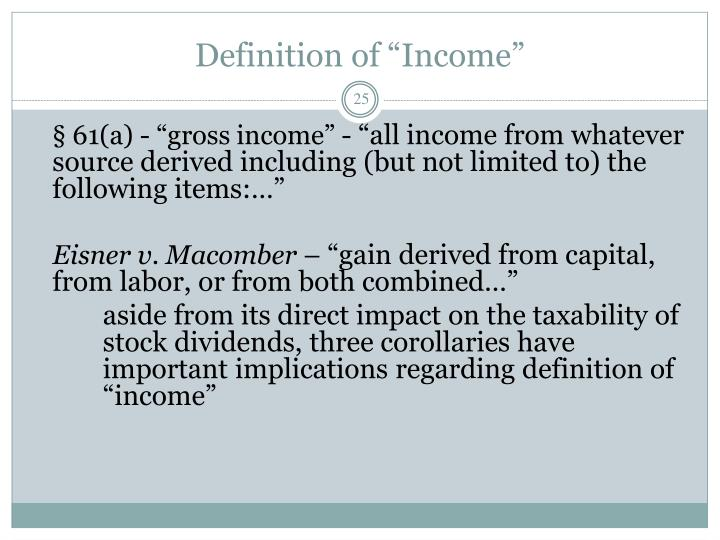 """Definition of """"Income"""""""