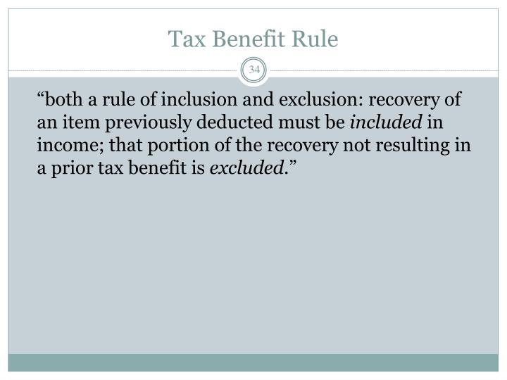 Tax Benefit Rule