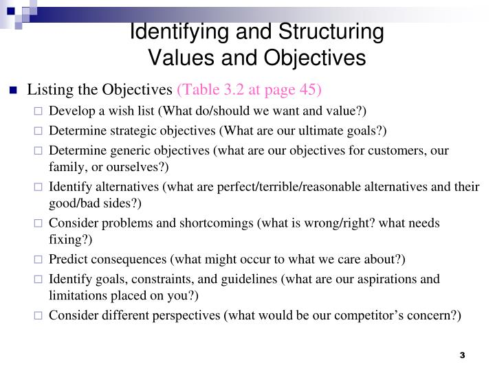 Identifying and structuring values and objectives