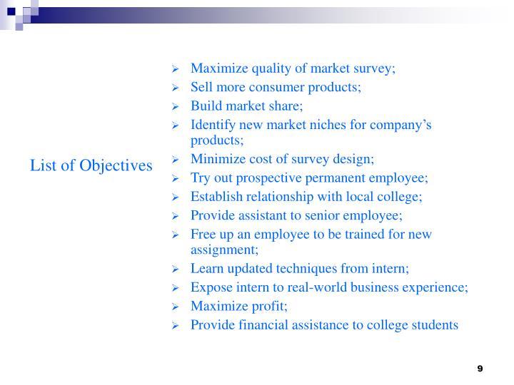 Maximize quality of market survey;