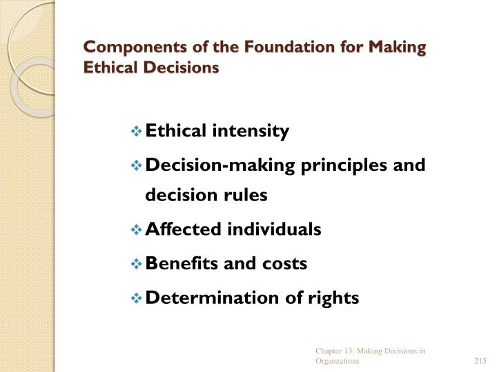 Components of the foundation for making ethical decisions