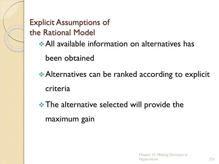 Explicit Assumptions of