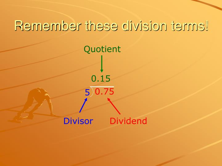 Remember these division terms!