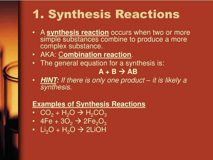 an example of synthesis reaction The formation of salt and water by the reaction of acid and bases is an example of reversible reaction for example: hcl + naoh nacl +  the hcl is hydrochloric acid, it is a strocng acid and naoh is sodium hydroxide is a base.