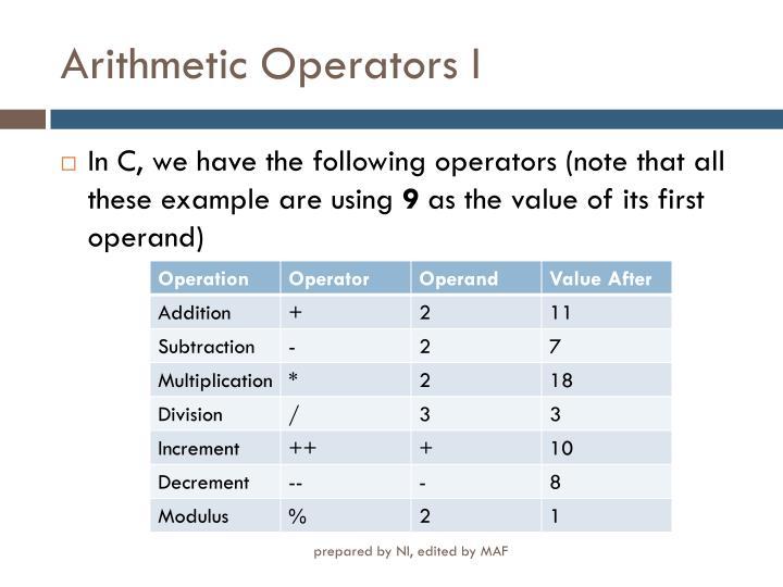 Arithmetic operators i
