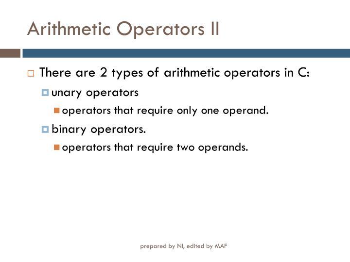 Arithmetic Operators II