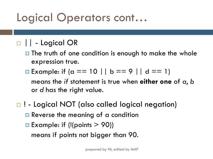 Logical Operators cont…