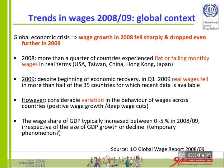 Trends in wages 2008/09: global context