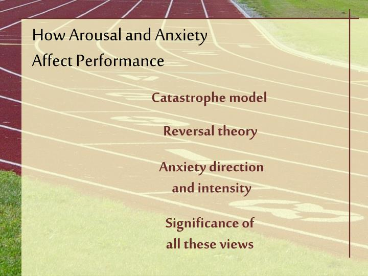 stress anxiety and arousal Arousal, stress, anxiety 16:25 arousal: a blend of physiological ad psychological activity in a person, and it refers to the intensity dimensions of motivation at a particular moment the intensity of arousal falls along a continuum ranging from not at all aroused (ex: comatose) to completely aroused (ex: frenzied.