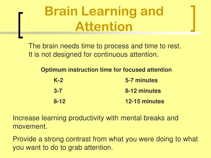 Brain Learning and Attention