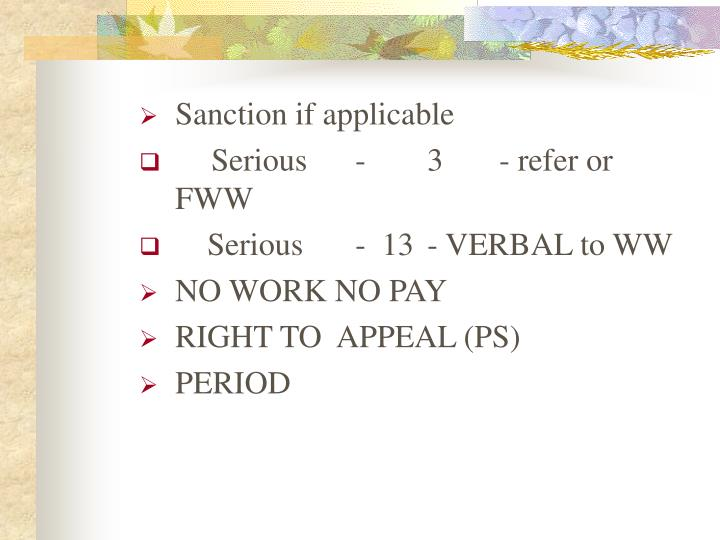 Sanction if applicable