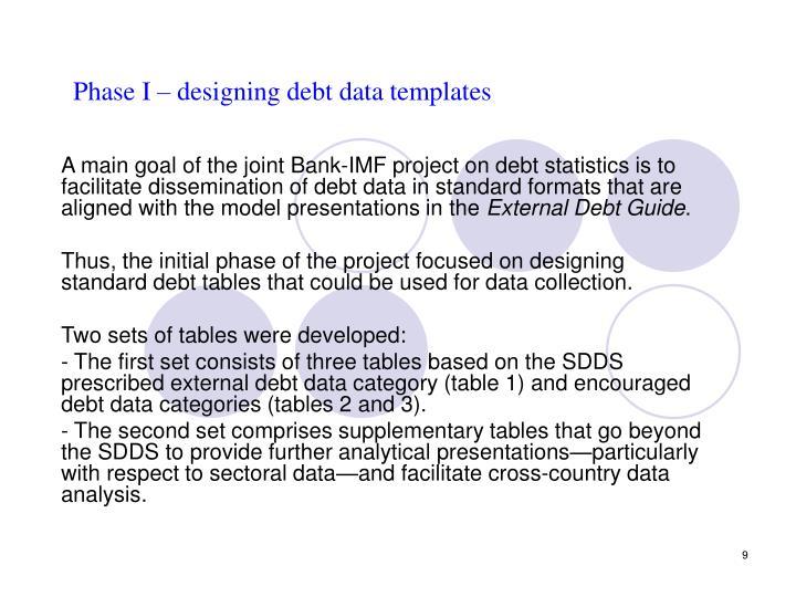 Phase I – designing debt data templates