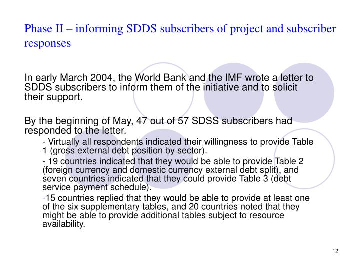 Phase II – informing SDDS subscribers of project and subscriber responses