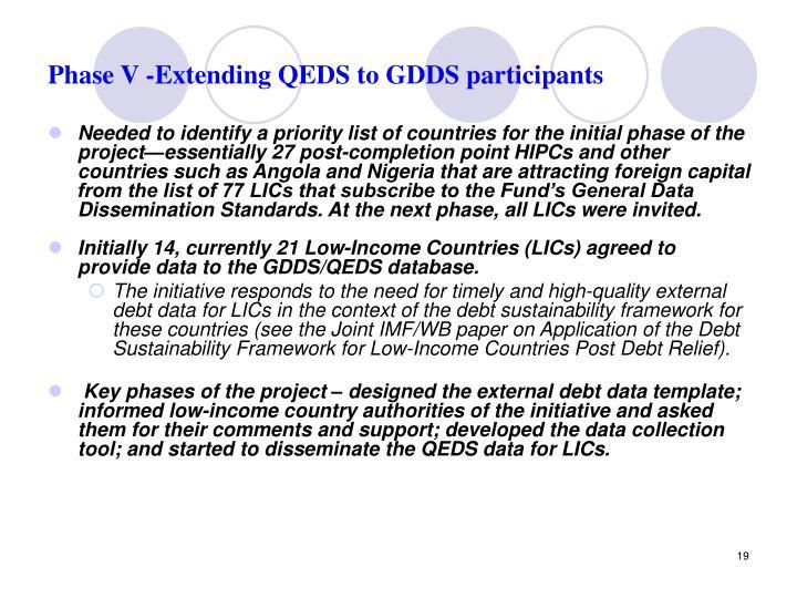 Phase V -Extending QEDS to GDDS participants