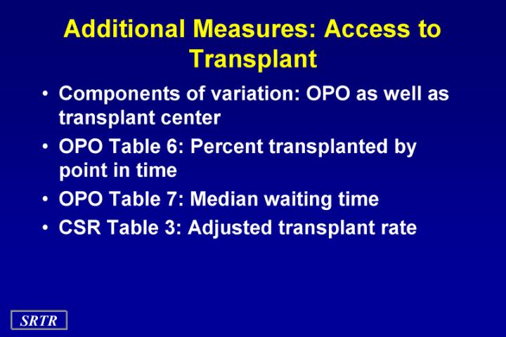 Additional Measures: Access to Transplant