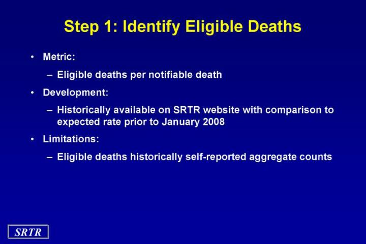 Step 1 identify eligible deaths