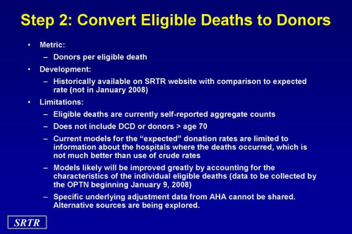 Step 2: Convert Eligible Deaths to Donors