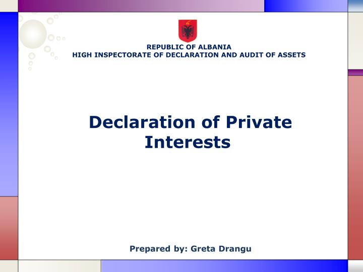 declaration of private interests n.