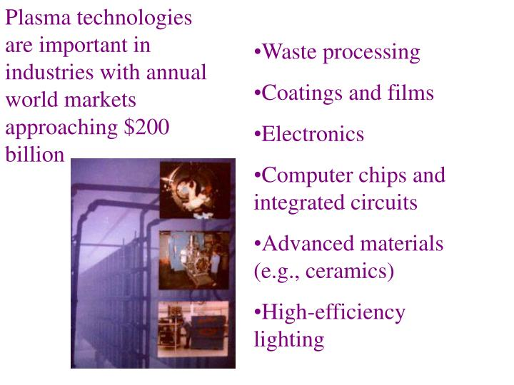 Plasma technologies are important in industries with annual world markets approaching $200 billion