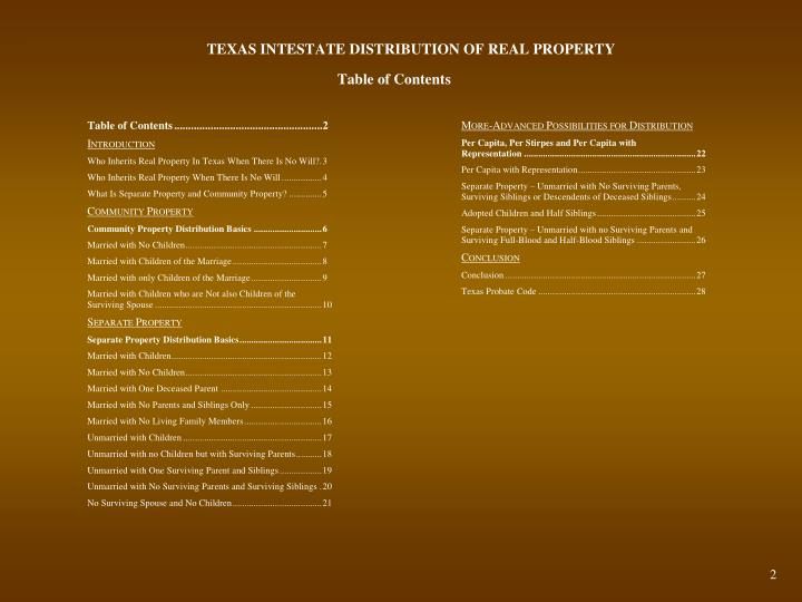 PPT - TEXAS INTESTATE DISTRIBUTION OF REAL PROPERTY ...