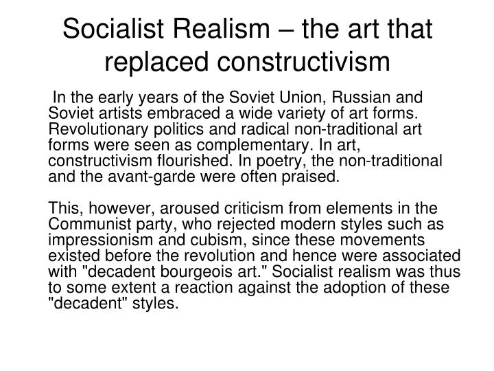 socialist realism the art that replaced constructivism n.