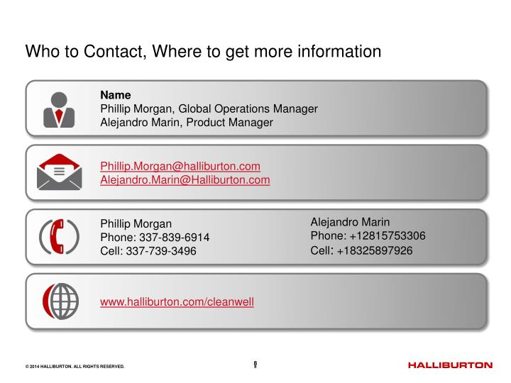 Who to Contact, Where to get more information