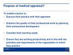 purpose of medical appraisal