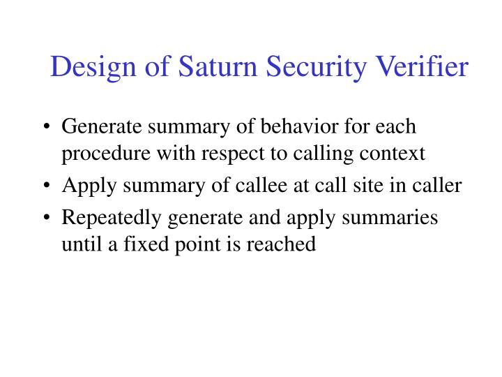 Design of Saturn Security Verifier