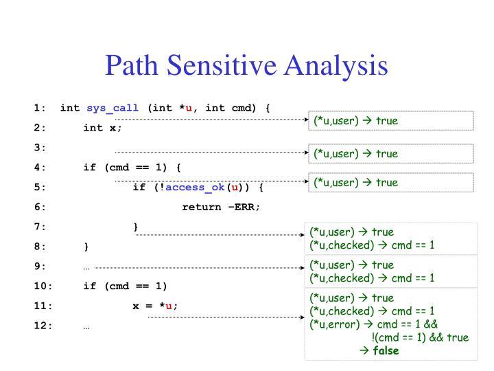 Path Sensitive Analysis
