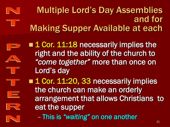 Multiple Lord's Day Assemblies