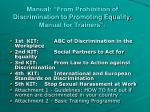 manual from prohibition of discrimination to promoting equality manual for trainers
