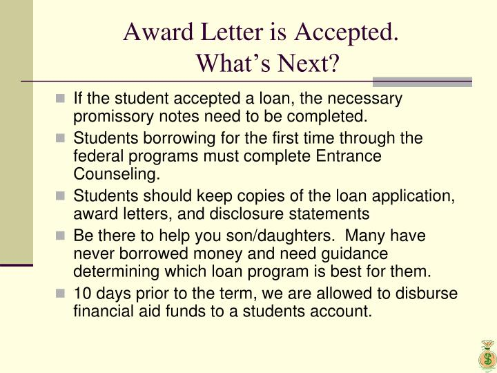Award Letter is Accepted.