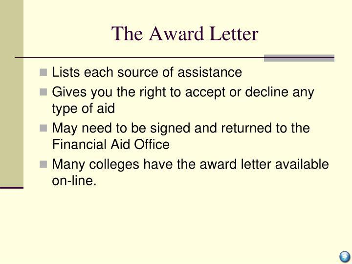 The Award Letter