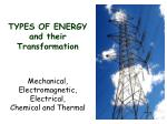 types of energy and their transformation
