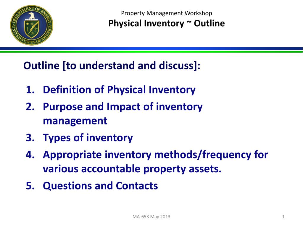 ppt property management workshop physical inventory outline