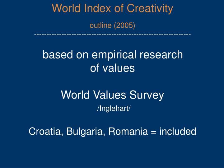 World Index of Creativity