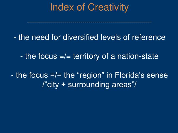 Index of Creativity