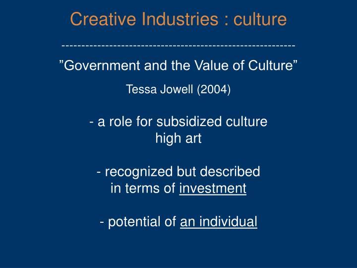 Creative Industries : culture