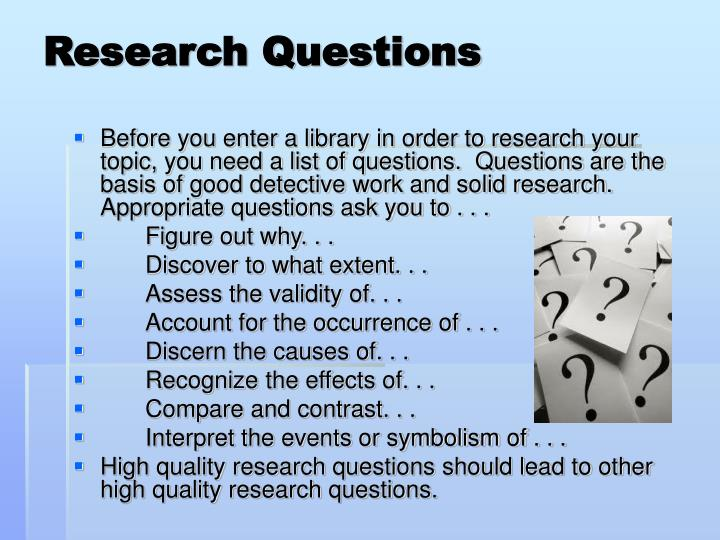 research paper questioons
