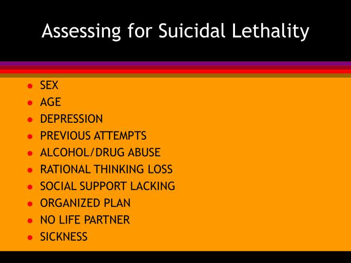 Assessing for Suicidal Lethality