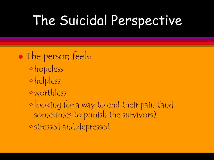 The suicidal perspective