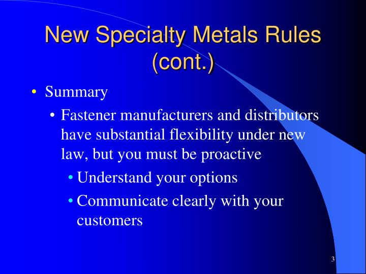 New specialty metals rules cont1
