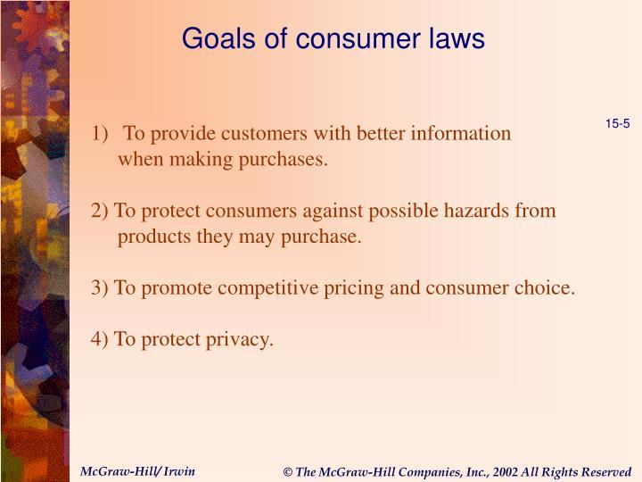 Goals of consumer laws