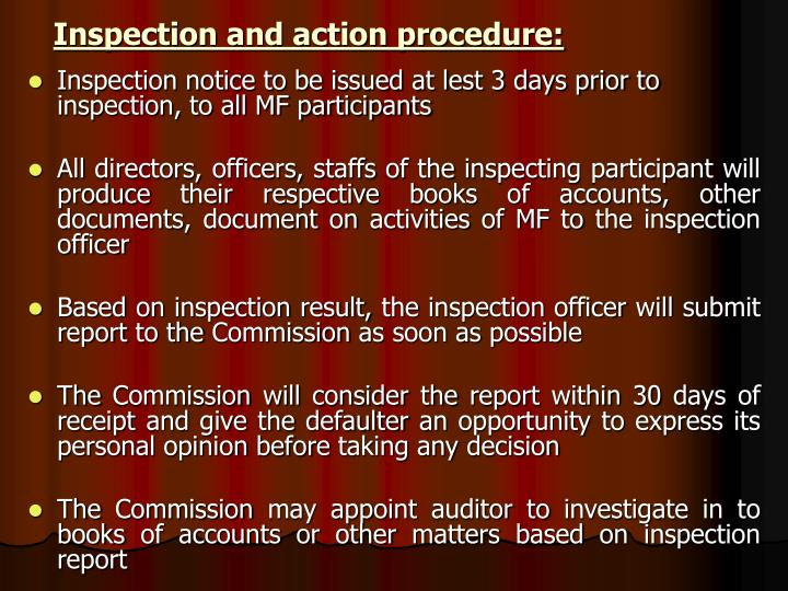 Inspection and action procedure: