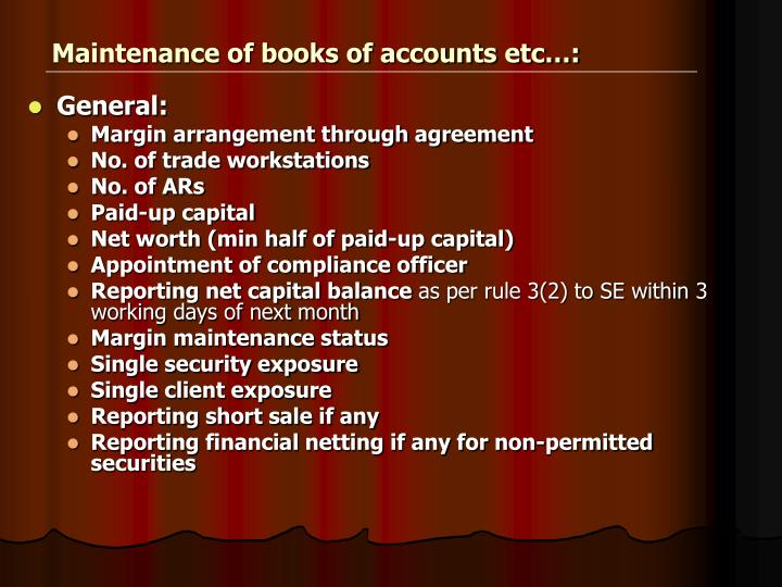 Maintenance of books of accounts etc…:
