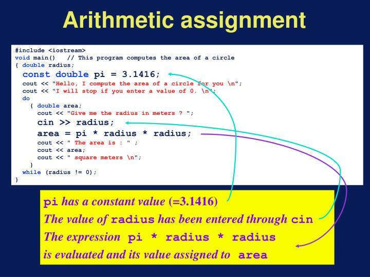 Arithmetic assignment