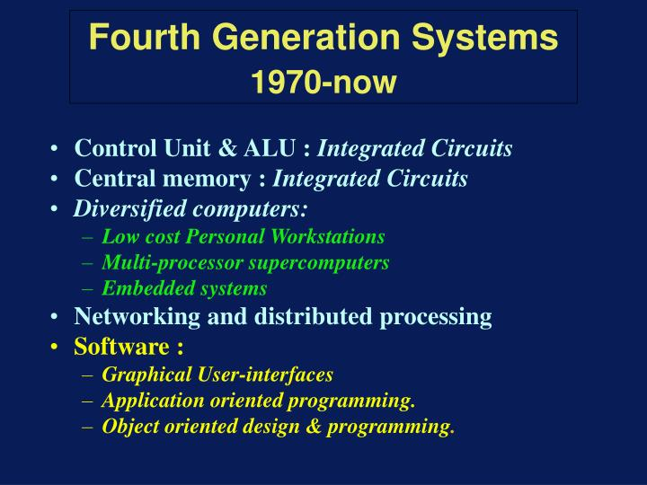 Fourth generation systems 1970 now