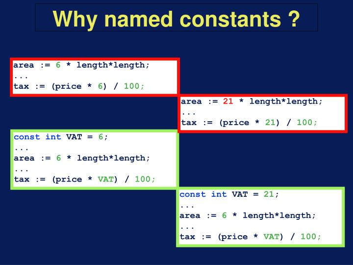 Why named constants ?